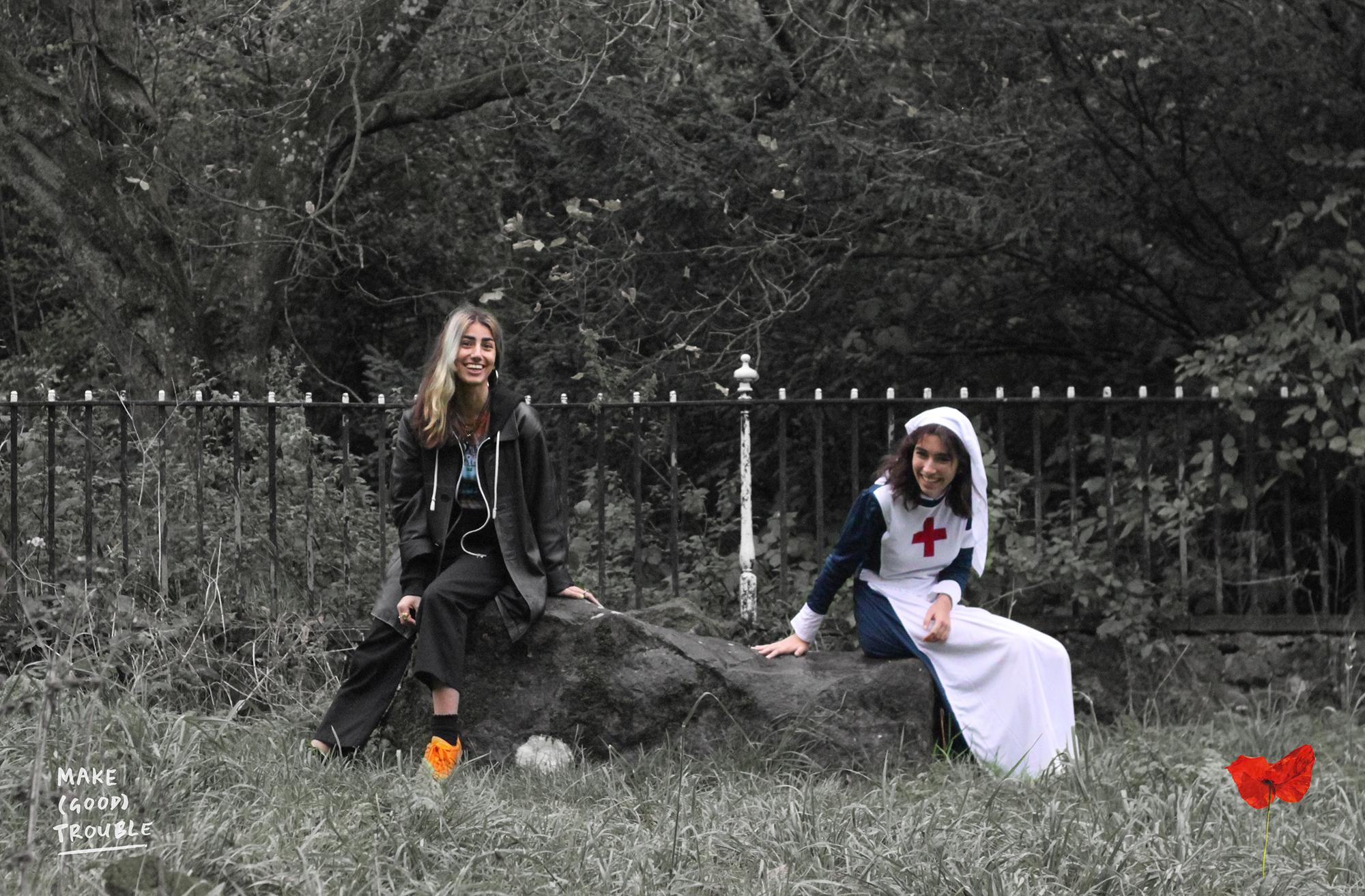Teens in modern and WW1 dress